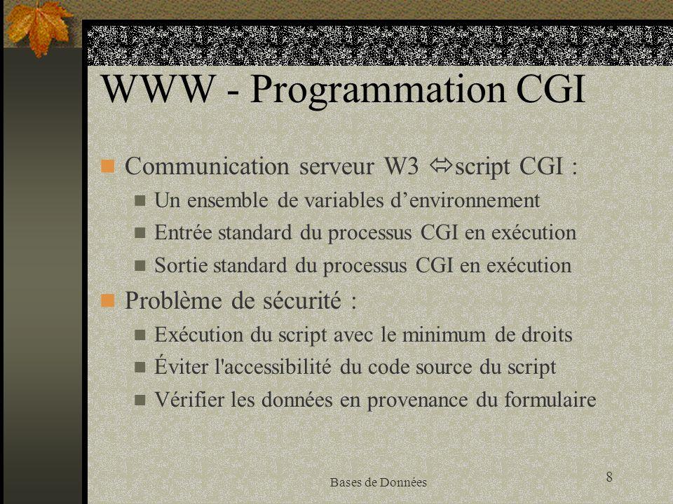 8 Bases de Données WWW - Programmation CGI Communication serveur W3 script CGI : Un ensemble de variables denvironnement Entrée standard du processus