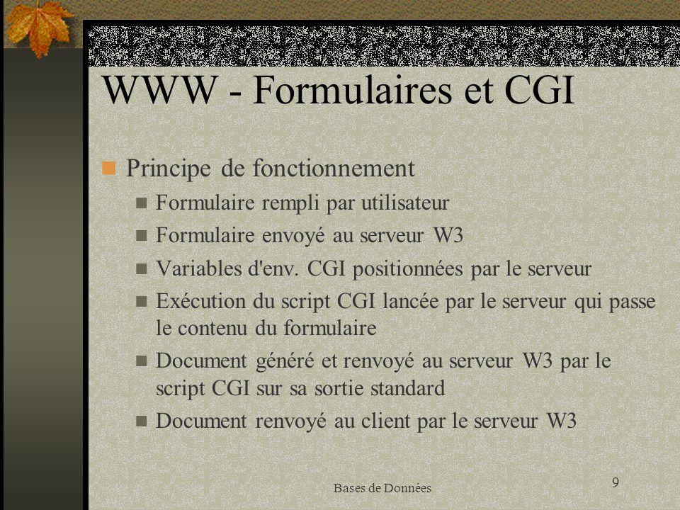 9 Bases de Données WWW - Formulaires et CGI Principe de fonctionnement Formulaire rempli par utilisateur Formulaire envoyé au serveur W3 Variables d'e