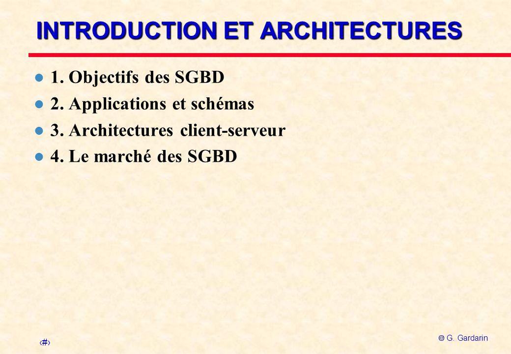 1 G. Gardarin INTRODUCTION ET ARCHITECTURES l 1. Objectifs des SGBD l 2. Applications et schémas l 3. Architectures client-serveur l 4. Le marché des