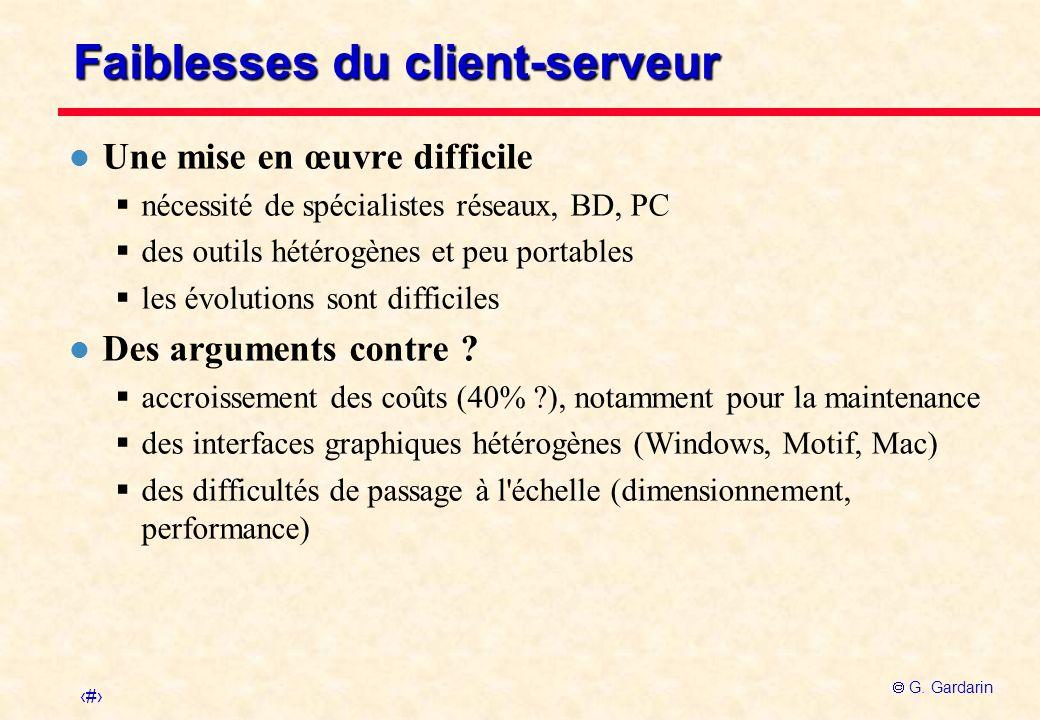 14 G. Gardarin Faiblesses du client-serveur l Une mise en œuvre difficile nécessité de spécialistes réseaux, BD, PC des outils hétérogènes et peu port