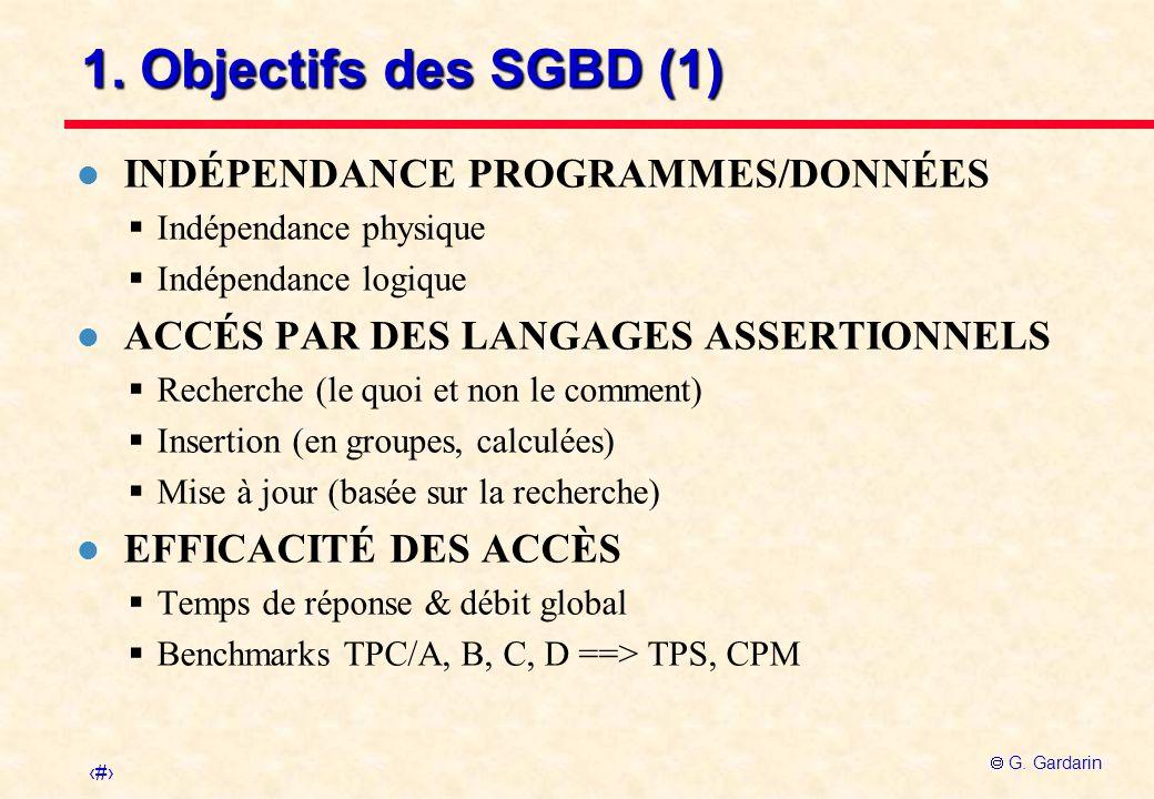 2 G. Gardarin 1. Objectifs des SGBD (1) l INDÉPENDANCE PROGRAMMES/DONNÉES Indépendance physique Indépendance logique l ACCÉS PAR DES LANGAGES ASSERTIO