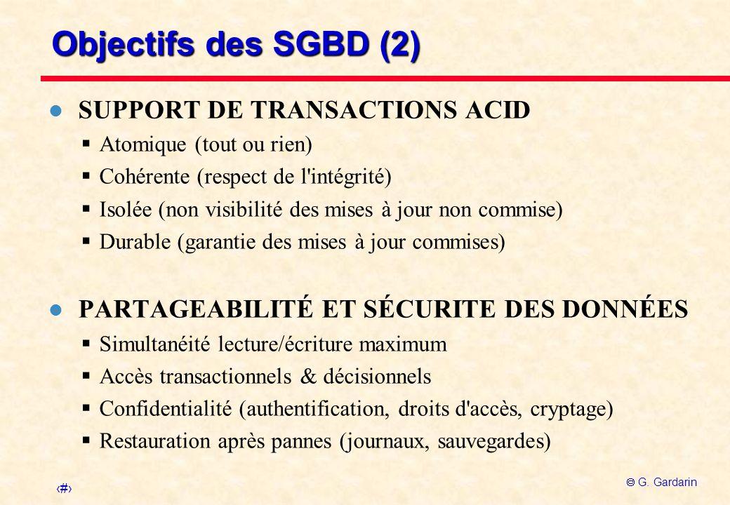 3 G. Gardarin Objectifs des SGBD (2) l SUPPORT DE TRANSACTIONS ACID Atomique (tout ou rien) Cohérente (respect de l'intégrité) Isolée (non visibilité