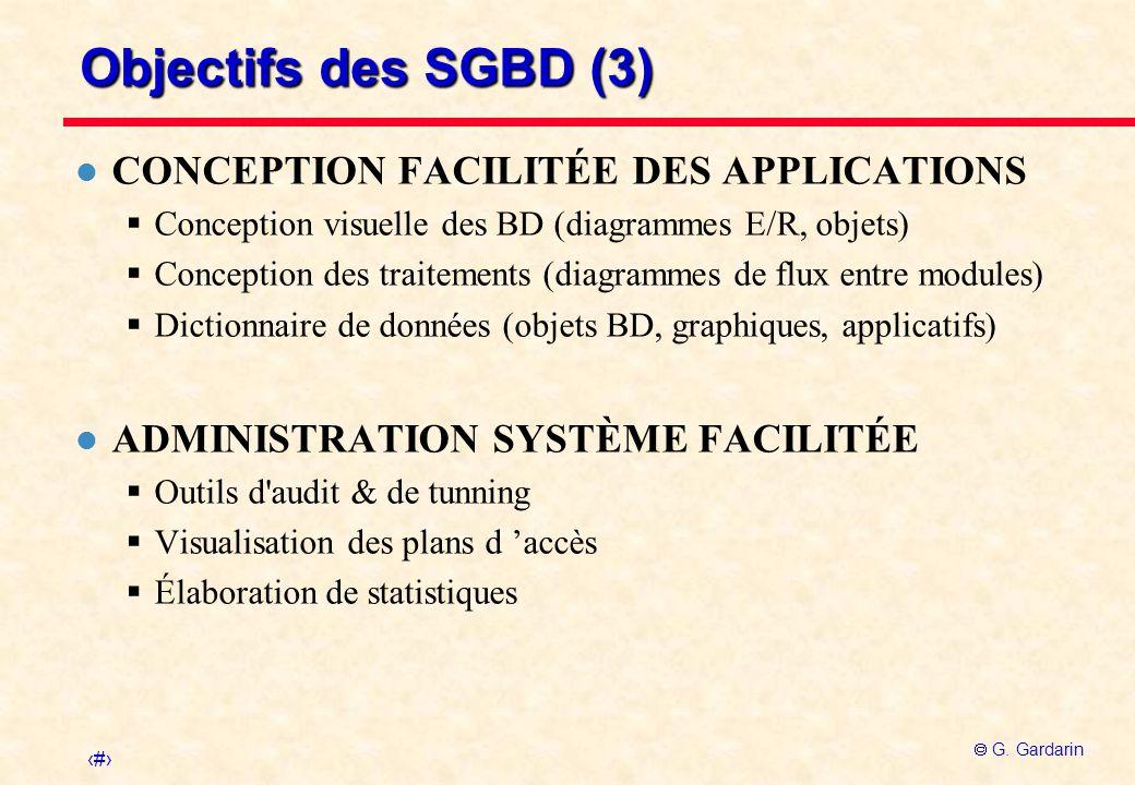 4 G. Gardarin Objectifs des SGBD (3) l CONCEPTION FACILITÉE DES APPLICATIONS Conception visuelle des BD (diagrammes E/R, objets) Conception des traite
