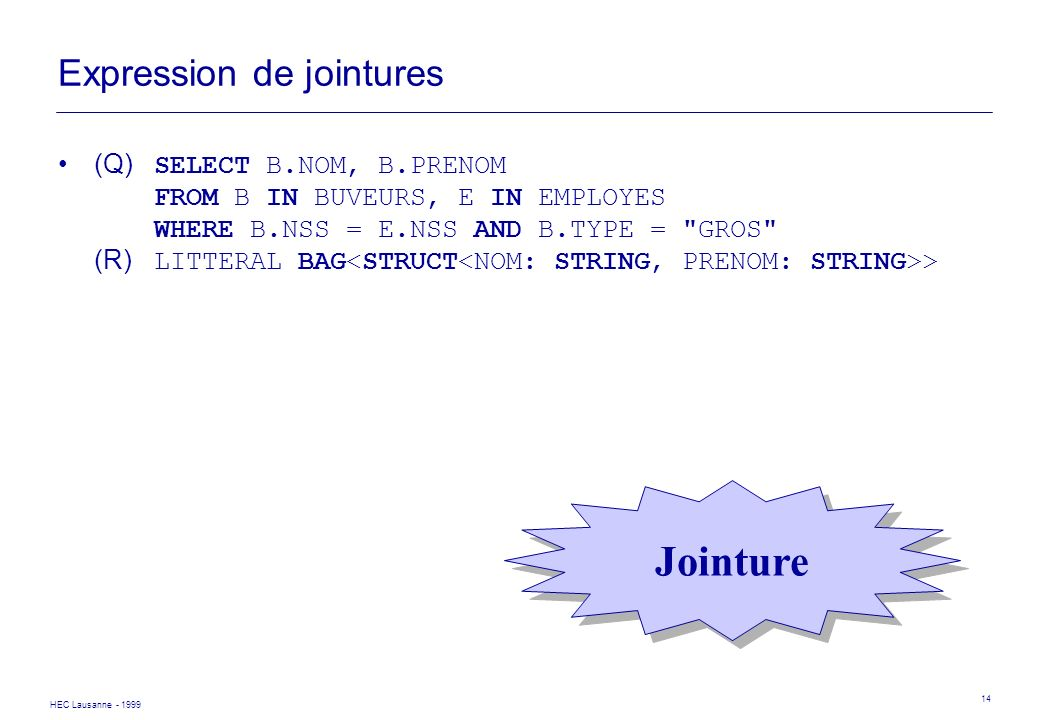 HEC Lausanne - 1999 14 Expression de jointures (Q) SELECT B.NOM, B.PRENOM FROM B IN BUVEURS, E IN EMPLOYES WHERE B.NSS = E.NSS AND B.TYPE =