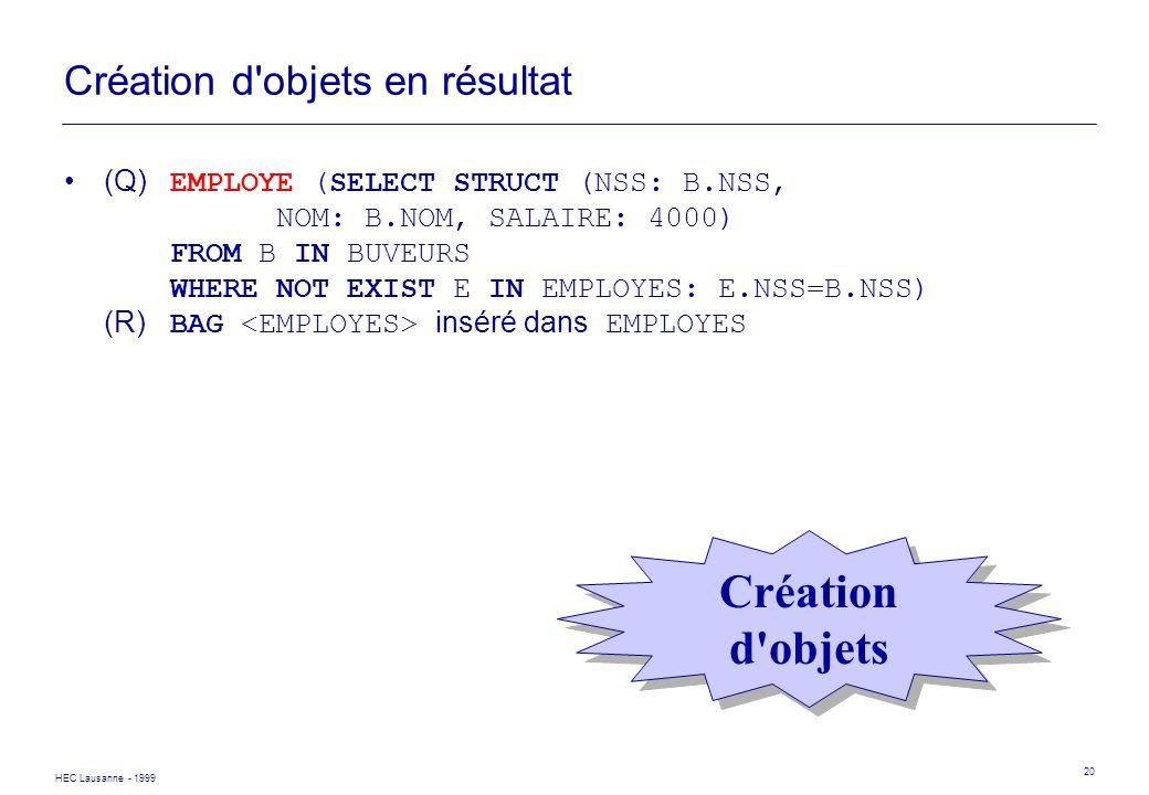HEC Lausanne - 1999 20 Création d'objets en résultat (Q) EMPLOYE (SELECT STRUCT (NSS: B.NSS, NOM: B.NOM, SALAIRE: 4000) FROM B IN BUVEURS WHERE NOT EX