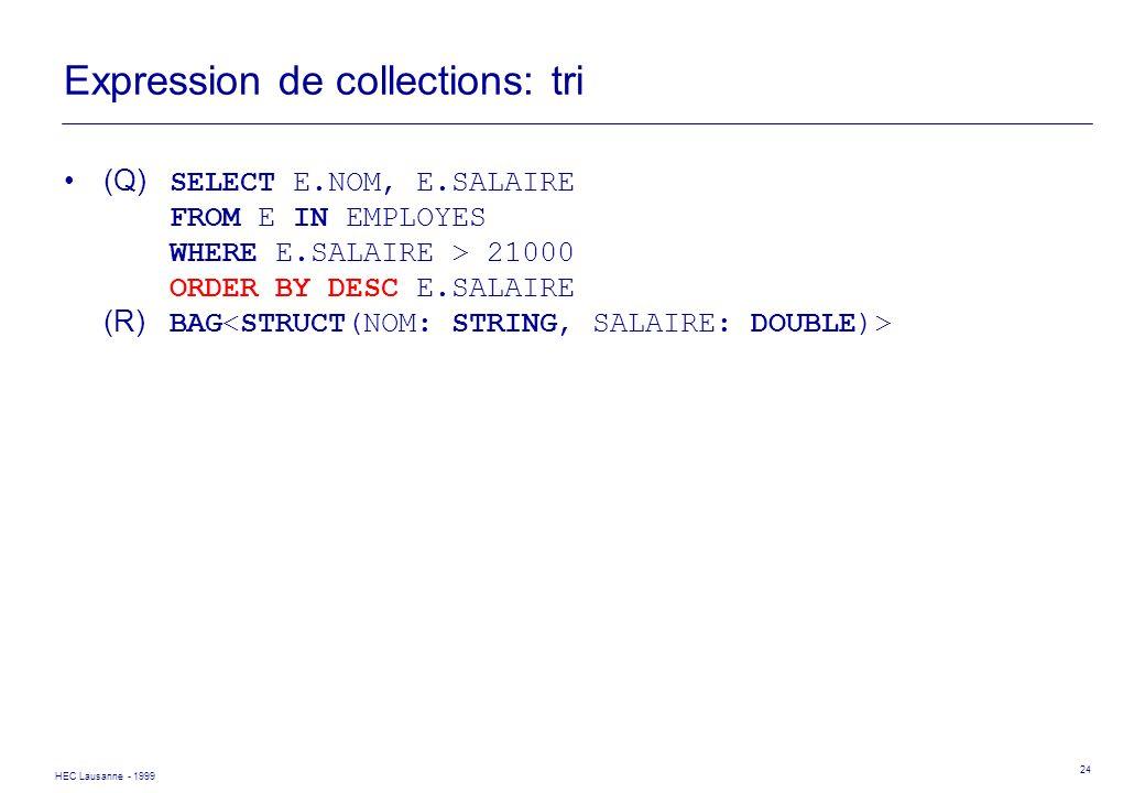 HEC Lausanne - 1999 24 Expression de collections: tri (Q) SELECT E.NOM, E.SALAIRE FROM E IN EMPLOYES WHERE E.SALAIRE > 21000 ORDER BY DESC E.SALAIRE (