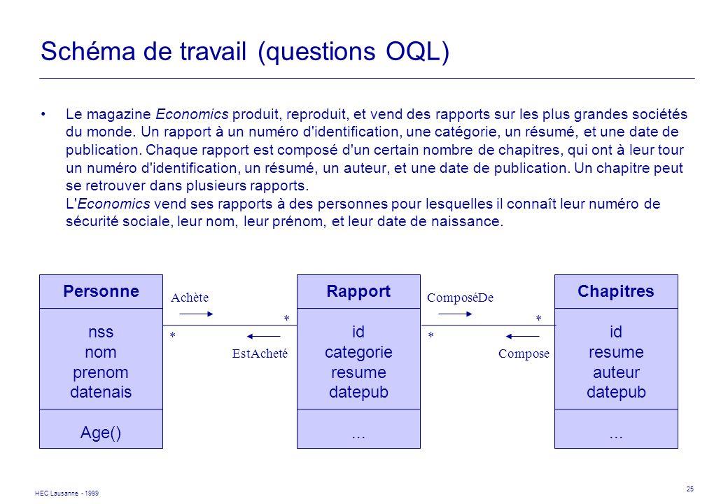 HEC Lausanne - 1999 25 Personne nss nom prenom datenais Age() Rapport id categorie resume datepub... Achète EstAcheté * * Chapitres id resume auteur d