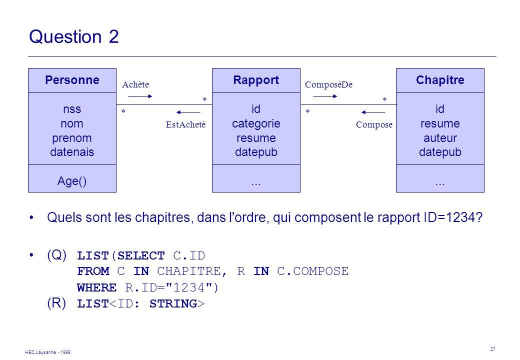 HEC Lausanne - 1999 27 Question 2 Quels sont les chapitres, dans l'ordre, qui composent le rapport ID=1234? (Q) LIST(SELECT C.ID FROM C IN CHAPITRE, R