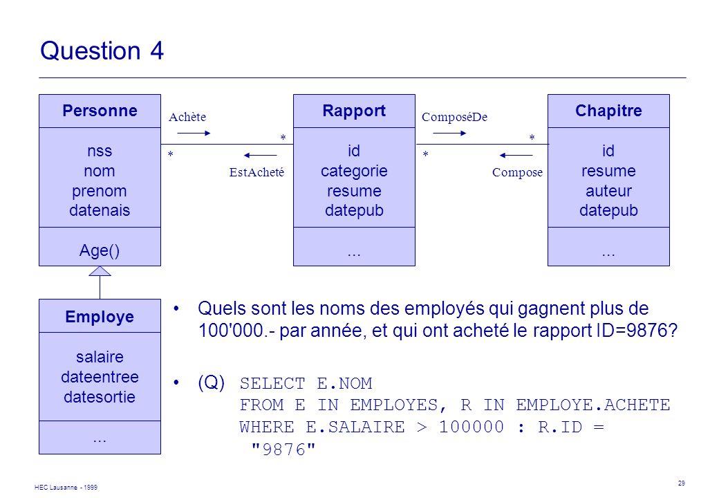 HEC Lausanne - 1999 29 Personne nss nom prenom datenais Age() Rapport id categorie resume datepub... Achète EstAcheté * * Chapitre id resume auteur da