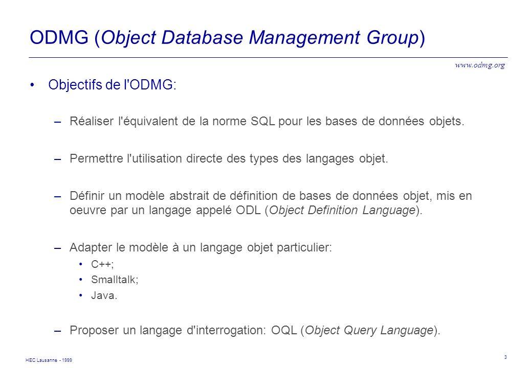 HEC Lausanne - 1999 3 ODMG (Object Database Management Group) Objectifs de l'ODMG: –Réaliser l'équivalent de la norme SQL pour les bases de données ob