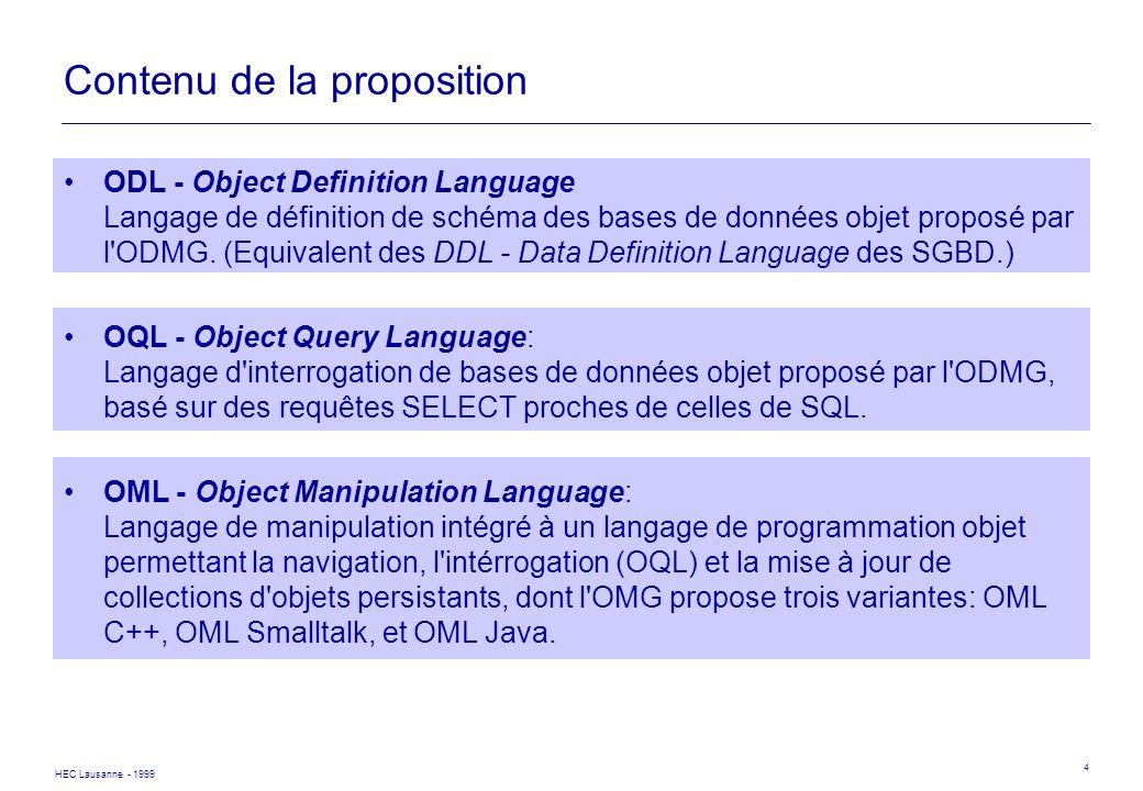 HEC Lausanne - 1999 4 Contenu de la proposition ODL - Object Definition Language Langage de définition de schéma des bases de données objet proposé pa