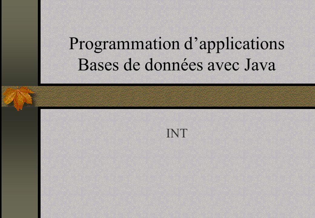 12 Bases de Données Classes et interfaces du paquage java.sql DriverStatementConnectionResultSetResultSetMetaDataDatabaseMetaData PreparedStatement CallableStatement Java.lang.Object Java.util.DateDriverManagerDriverPropertyInfoTypes DateTimeTimeStamp