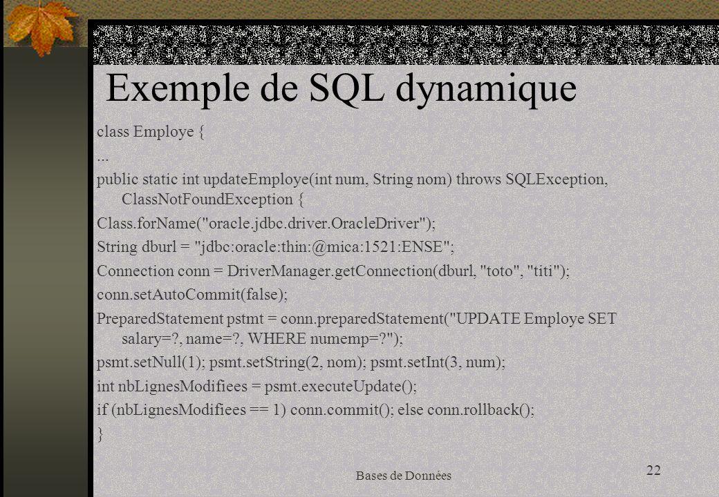 22 Bases de Données Exemple de SQL dynamique class Employe {...