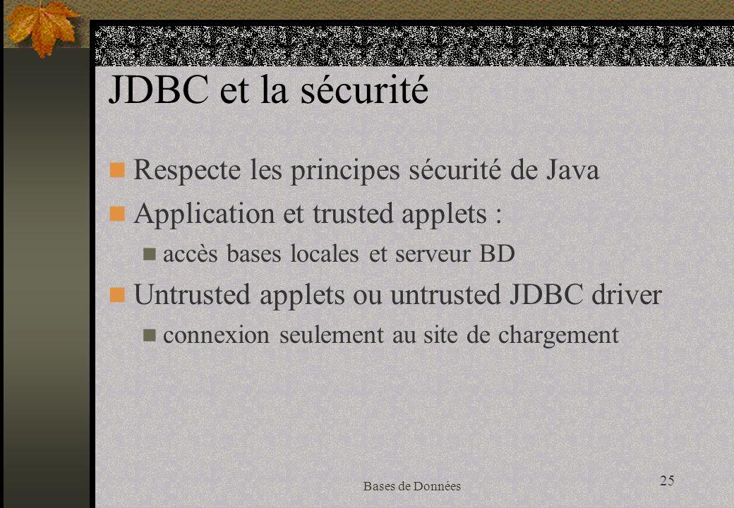25 Bases de Données JDBC et la sécurité Respecte les principes sécurité de Java Application et trusted applets : accès bases locales et serveur BD Untrusted applets ou untrusted JDBC driver connexion seulement au site de chargement