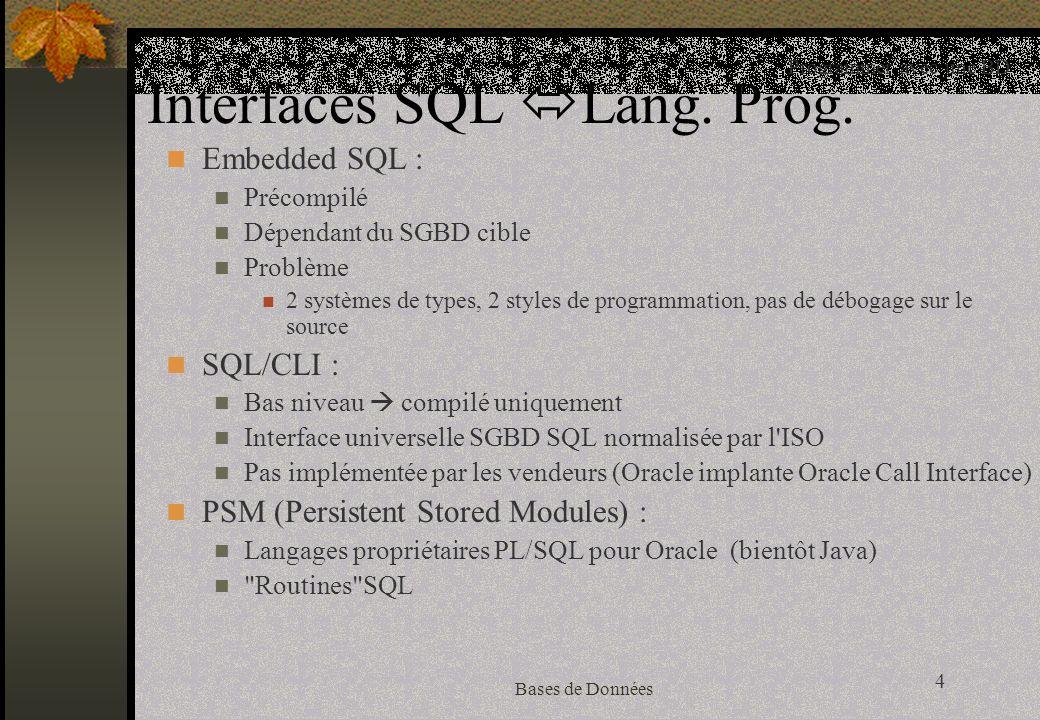 15 Bases de Données Connexion à la base (suite) import java.sql.*; Class.forName( oracle.jdbc.driver.OracleDriver ); chargement dynamique de la classe implémentant le pilote Oracle String dburl = jdbc:oracle:thin:@mica:1521:IOBD ; construction de lurl pour Oracle INT Connection conn = DriverManager.getConnection(dburl, toto , titi ); connexion à lurl avec un (user, passwd)=(toto, titi)