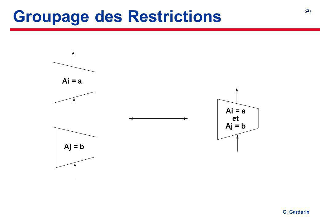 12 EQUINOXE Communications G. Gardarin Groupage des Restrictions Ai = a Aj = b Ai = a et Aj = b
