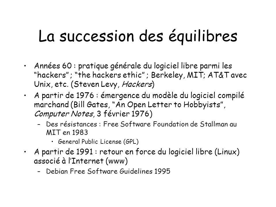 La succession des équilibres Années 60 : pratique générale du logiciel libre parmi les hackers ; the hackers ethic ; Berkeley, MIT; AT&T avec Unix, etc.