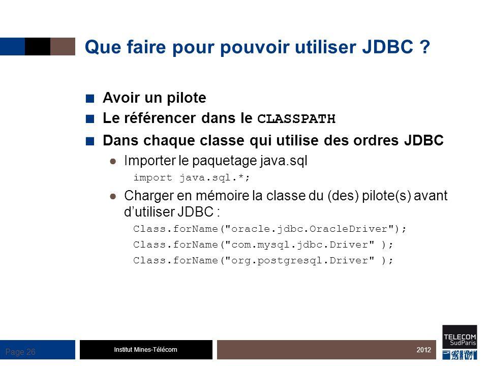 Institut Mines-Télécom Page 26 Que faire pour pouvoir utiliser JDBC ? Avoir un pilote Le référencer dans le CLASSPATH Dans chaque classe qui utilise d