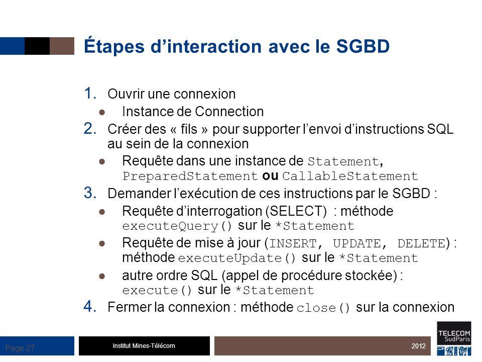 Institut Mines-Télécom Page 27 Étapes dinteraction avec le SGBD 1. Ouvrir une connexion Instance de Connection 2. Créer des « fils » pour supporter le