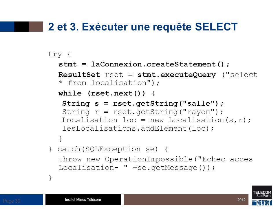 Institut Mines-Télécom Page 30 2 et 3. Exécuter une requête SELECT try { stmt = laConnexion.createStatement(); ResultSet rset = stmt.executeQuery (