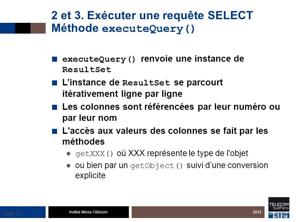 Institut Mines-Télécom Page 31 2 et 3. Exécuter une requête SELECT Méthode executeQuery() executeQuery() renvoie une instance de ResultSet Linstance d