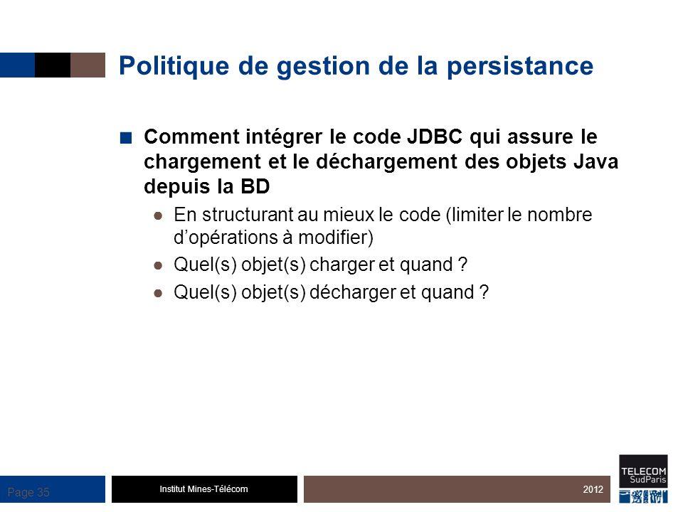 Institut Mines-Télécom Page 35 Politique de gestion de la persistance Comment intégrer le code JDBC qui assure le chargement et le déchargement des ob