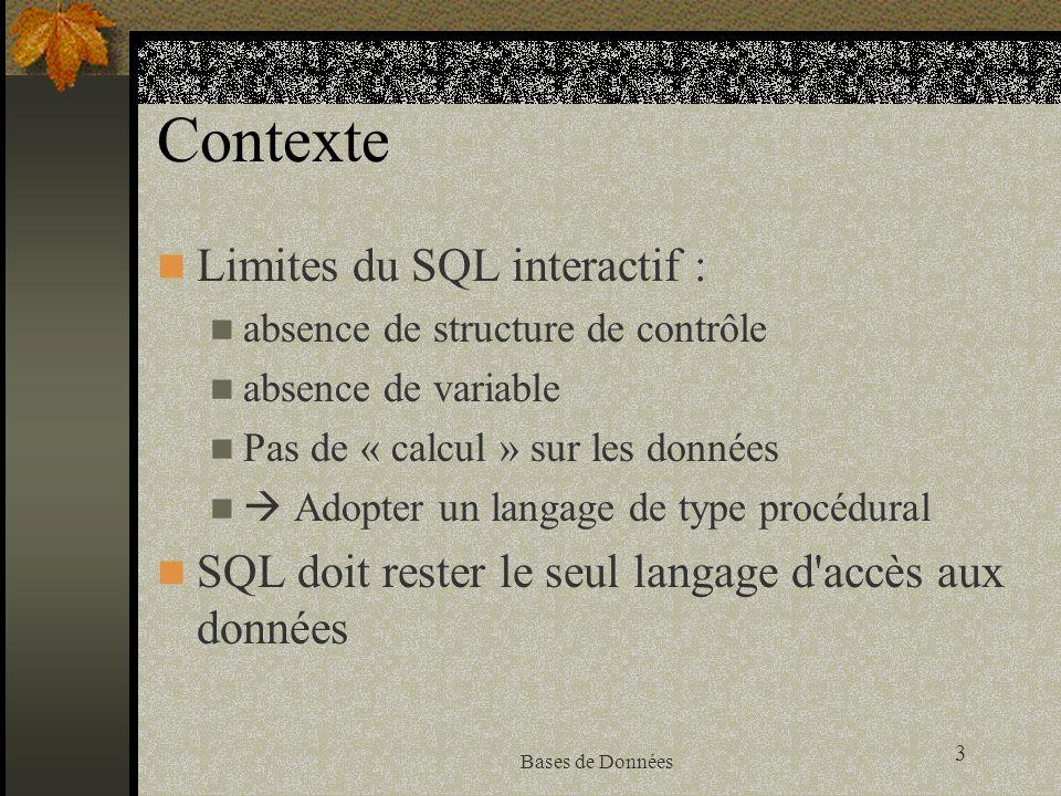 3 Bases de Données Contexte Limites du SQL interactif : absence de structure de contrôle absence de variable Pas de « calcul » sur les données Adopter un langage de type procédural SQL doit rester le seul langage d accès aux données
