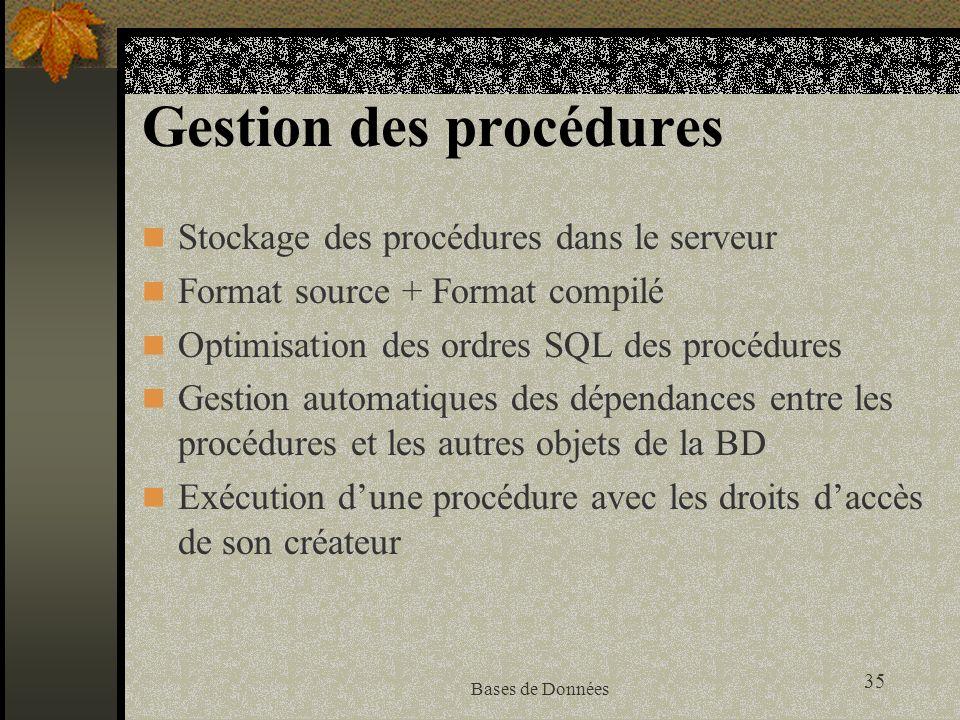 35 Bases de Données Gestion des procédures Stockage des procédures dans le serveur Format source + Format compilé Optimisation des ordres SQL des procédures Gestion automatiques des dépendances entre les procédures et les autres objets de la BD Exécution dune procédure avec les droits daccès de son créateur