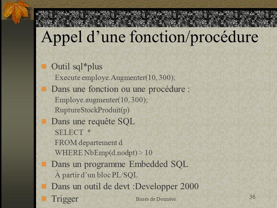 36 Bases de Données Appel dune fonction/procédure Outil sql*plus Execute employe.Augmenter(10, 300); Dans une fonction ou une procédure : Employe.augmenter(10, 300); RuptureStockProduit(p) Dans une requête SQL SELECT * FROM departement d WHERE NbEmp(d.nodpt) > 10 Dans un programme Embedded SQL À partir dun bloc PL/SQL Dans un outil de devt :Developper 2000 Trigger