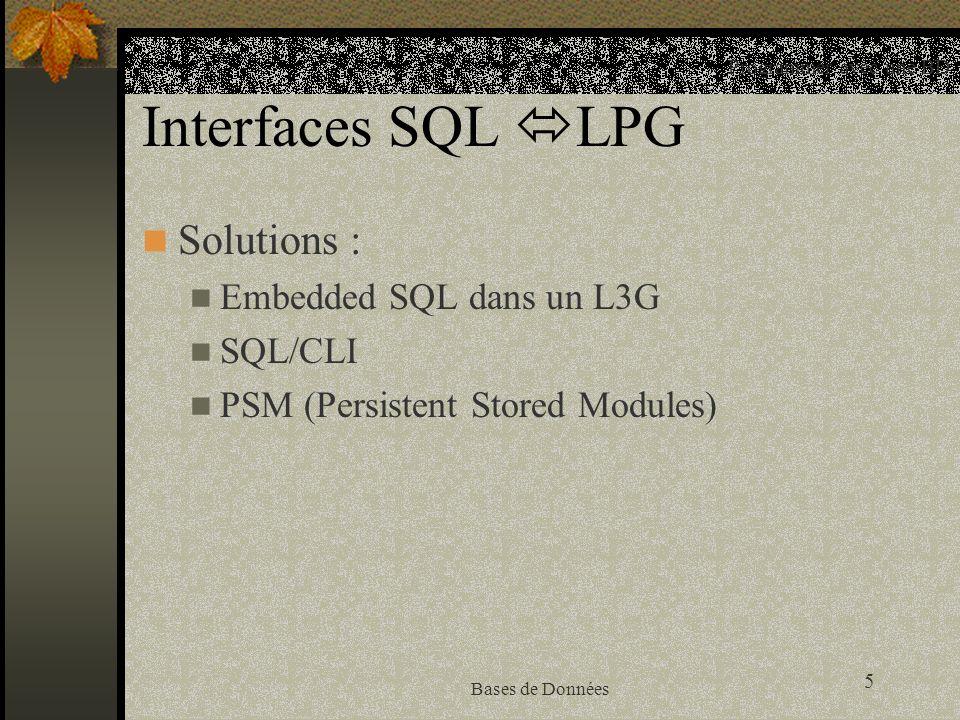 5 Bases de Données Interfaces SQL LPG Solutions : Embedded SQL dans un L3G SQL/CLI PSM (Persistent Stored Modules) Programmer avec une BD