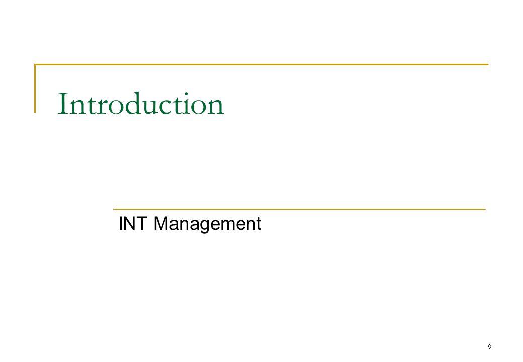 9 Introduction INT Management