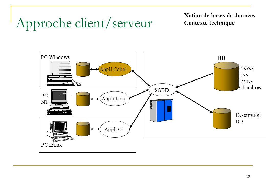 19 Approche client/serveur PC Windows PC Linux PC NT Appli C Appli JavaAppli Cobol Elèves Uvs Livres Chambres Description BD SGBD Notion de bases de données Contexte technique