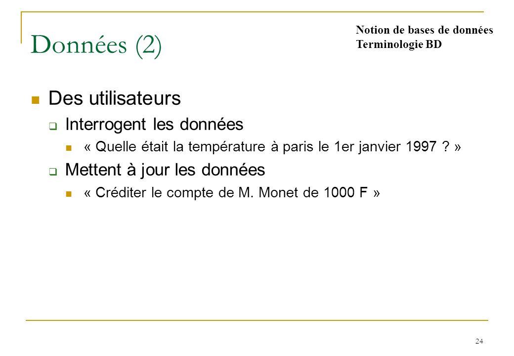 24 Données (2) Des utilisateurs Interrogent les données « Quelle était la température à paris le 1er janvier 1997 .