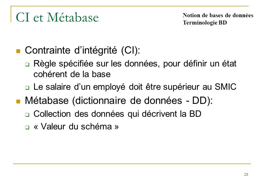 28 CI et Métabase Contrainte dintégrité (CI): Règle spécifiée sur les données, pour définir un état cohérent de la base Le salaire dun employé doit être supérieur au SMIC Métabase (dictionnaire de données - DD): Collection des données qui décrivent la BD « Valeur du schéma » Notion de bases de données Terminologie BD