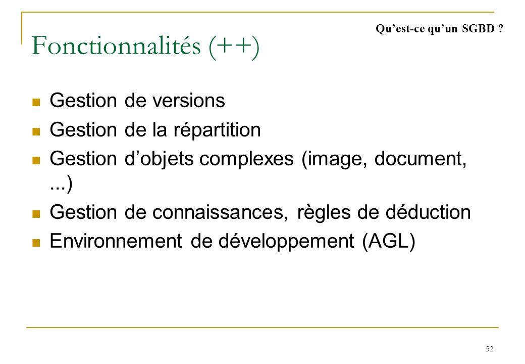 52 Fonctionnalités (++) Gestion de versions Gestion de la répartition Gestion dobjets complexes (image, document,...) Gestion de connaissances, règles de déduction Environnement de développement (AGL) Quest-ce quun SGBD ?