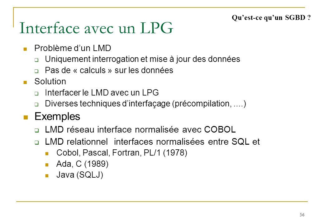 56 Interface avec un LPG Problème dun LMD Uniquement interrogation et mise à jour des données Pas de « calculs » sur les données Solution Interfacer le LMD avec un LPG Diverses techniques dinterfaçage (précompilation,....) Exemples LMD réseau interface normalisée avec COBOL LMD relationnel interfaces normalisées entre SQL et Cobol, Pascal, Fortran, PL/1 (1978) Ada, C (1989) Java (SQLJ) Quest-ce quun SGBD ?