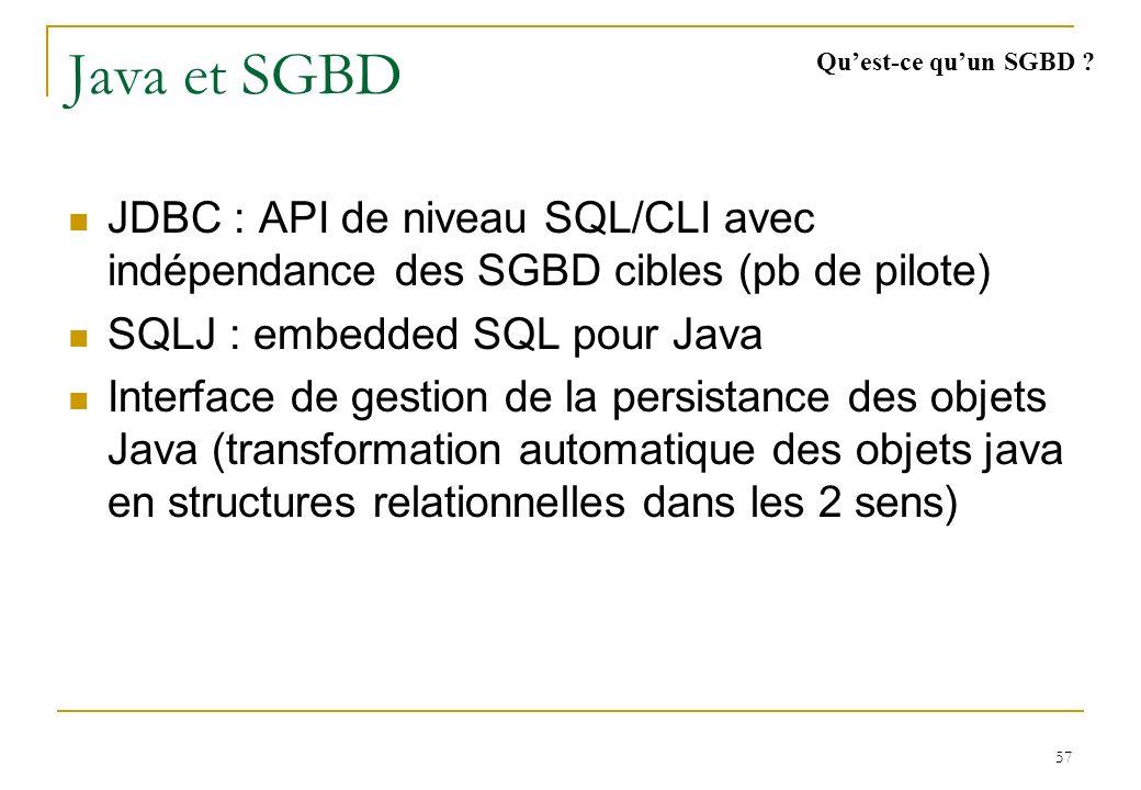 57 Java et SGBD JDBC : API de niveau SQL/CLI avec indépendance des SGBD cibles (pb de pilote) SQLJ : embedded SQL pour Java Interface de gestion de la persistance des objets Java (transformation automatique des objets java en structures relationnelles dans les 2 sens) Quest-ce quun SGBD ?
