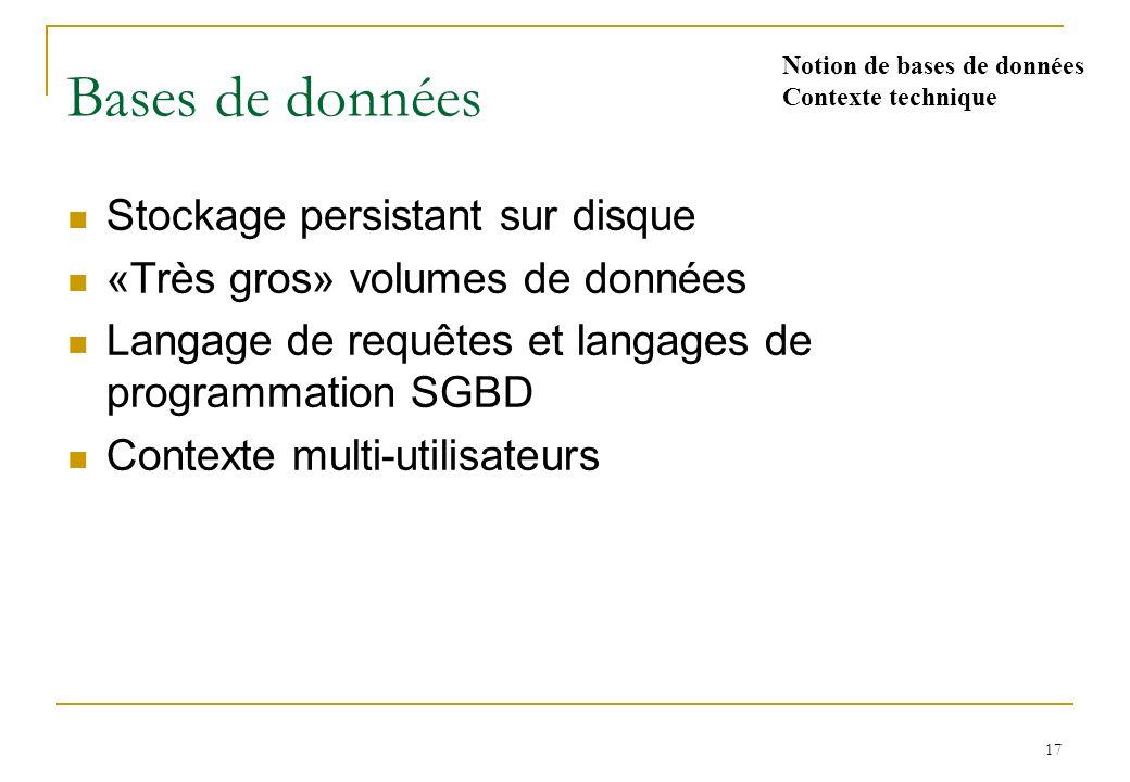 17 Bases de données Stockage persistant sur disque «Très gros» volumes de données Langage de requêtes et langages de programmation SGBD Contexte multi-utilisateurs Notion de bases de données Contexte technique