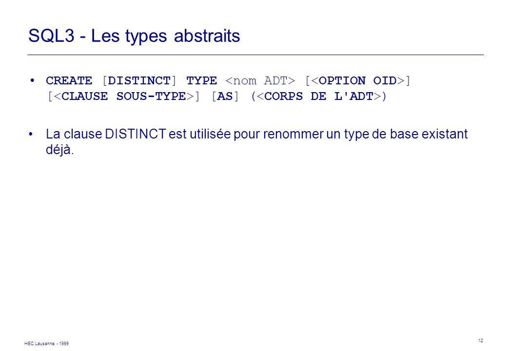 HEC Lausanne - 1999 12 SQL3 - Les types abstraits CREATE [DISTINCT] TYPE [ ] [ ] [AS] ( ) La clause DISTINCT est utilisée pour renommer un type de bas