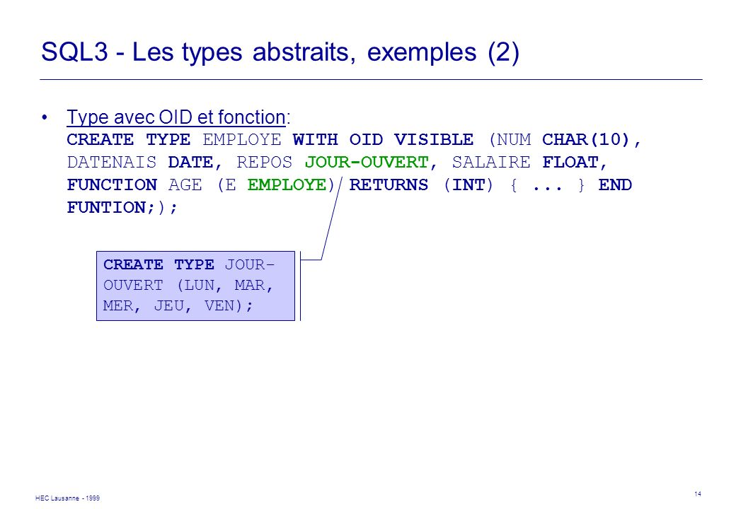 HEC Lausanne - 1999 14 SQL3 - Les types abstraits, exemples (2) Type avec OID et fonction: CREATE TYPE EMPLOYE WITH OID VISIBLE (NUM CHAR(10), DATENAI