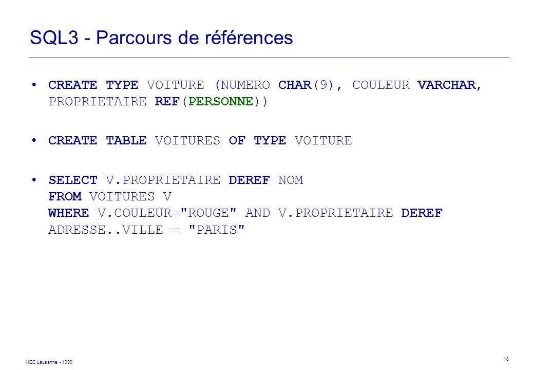 HEC Lausanne - 1999 18 SQL3 - Parcours de références CREATE TYPE VOITURE (NUMERO CHAR(9), COULEUR VARCHAR, PROPRIETAIRE REF(PERSONNE)) CREATE TABLE VO