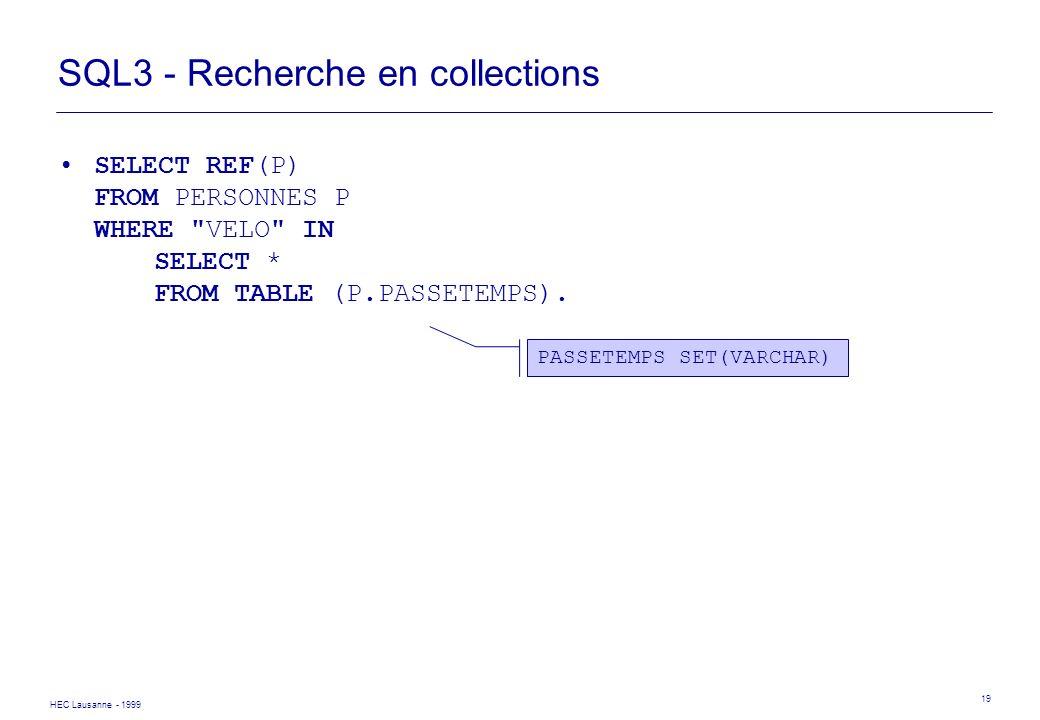 HEC Lausanne - 1999 19 SQL3 - Recherche en collections SELECT REF(P) FROM PERSONNES P WHERE