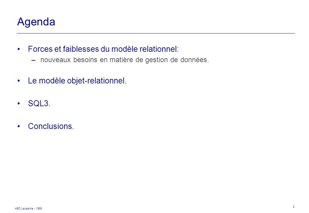 HEC Lausanne - 1999 2 Agenda Forces et faiblesses du modèle relationnel: –nouveaux besoins en matière de gestion de données. Le modèle objet-relationn