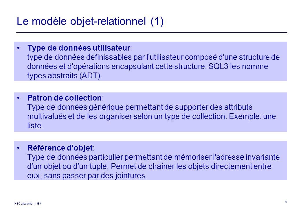 HEC Lausanne - 1999 17 SQL3 - Appel de fonctions SELECT E.NOM, AGE(E) FROM EMPLOYES E WHERE AGE(E) < 35; CREATE TABLE EMPLOYESLOC UNDER EMPLOYES WITH (ADRES ADRESSE) SELECT NOM, REPOS FROM EMPLOYELOC E WHERE DISTRICT(E.ADRES) = MORGES AND E.ADRES..VILLE = BUSSIGNY SELECT E.NOM, E..AGE() Utilisation d une fonction pour obtenir le district.