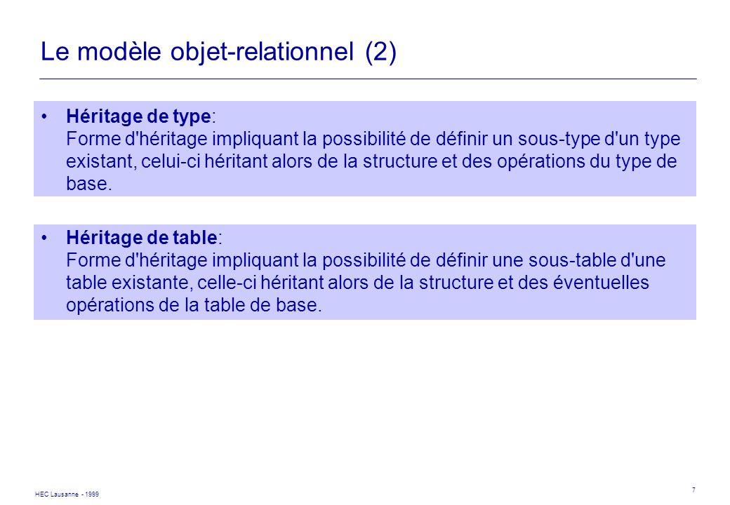 HEC Lausanne - 1999 18 SQL3 - Parcours de références CREATE TYPE VOITURE (NUMERO CHAR(9), COULEUR VARCHAR, PROPRIETAIRE REF(PERSONNE)) CREATE TABLE VOITURES OF TYPE VOITURE SELECT V.PROPRIETAIRE DEREF NOM FROM VOITURES V WHERE V.COULEUR= ROUGE AND V.PROPRIETAIRE DEREF ADRESSE..VILLE = PARIS