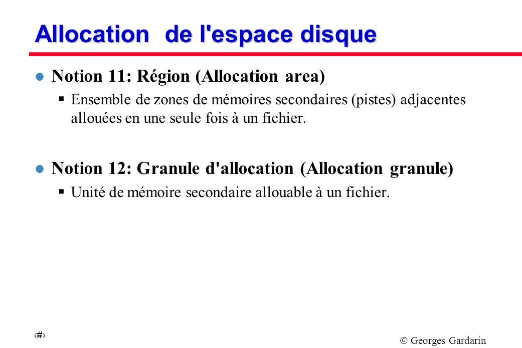 Georges Gardarin 10 Allocation de l espace disque l Notion 11: Région (Allocation area) Ensemble de zones de mémoires secondaires (pistes) adjacentes allouées en une seule fois à un fichier.