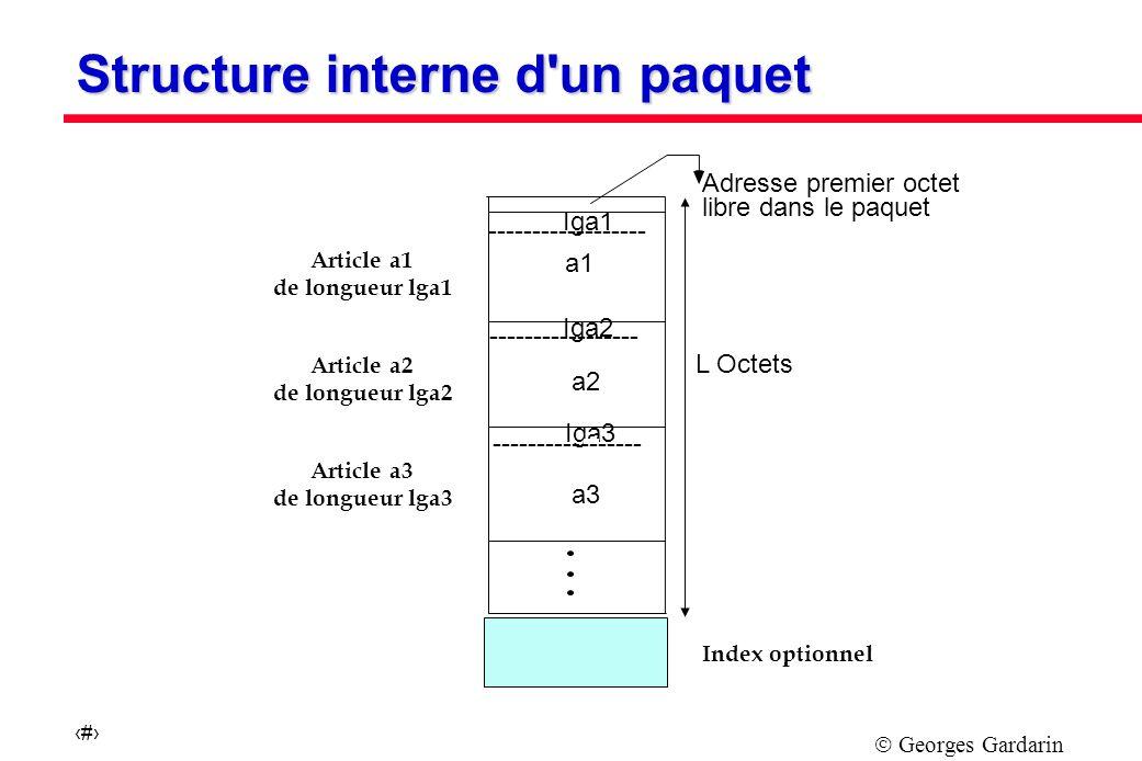 Georges Gardarin 17 Iga1 ------------------ Iga2 ----------------- Iga3 ----------------- L Octets Adresse premier octet libre dans le paquet a1 a2 a3 Article a1 de longueur lga1 Article a2 de longueur lga2 Article a3 de longueur lga3 Index optionnel Structure interne d un paquet