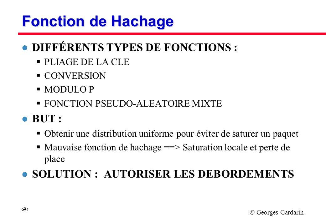 Georges Gardarin 19 Fonction de Hachage l DIFFÉRENTS TYPES DE FONCTIONS : PLIAGE DE LA CLE CONVERSION MODULO P FONCTION PSEUDO-ALEATOIRE MIXTE l BUT : Obtenir une distribution uniforme pour éviter de saturer un paquet Mauvaise fonction de hachage ==> Saturation locale et perte de place l SOLUTION : AUTORISER LES DEBORDEMENTS
