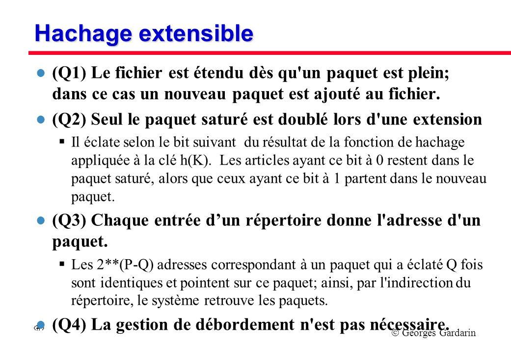 Georges Gardarin 23 Hachage extensible l (Q1) Le fichier est étendu dès qu un paquet est plein; dans ce cas un nouveau paquet est ajouté au fichier.