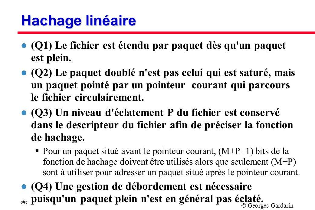 Georges Gardarin 27 Hachage linéaire l (Q1) Le fichier est étendu par paquet dès qu un paquet est plein.